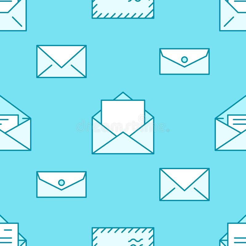 Безшовная картина с линией значками конвертов плоской Предпосылка почты, сообщение, открытый конверт с письмом, вектором электрон иллюстрация штока