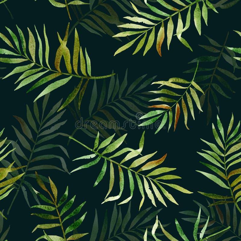 Безшовная картина с листьями акварели тропическими иллюстрация штока