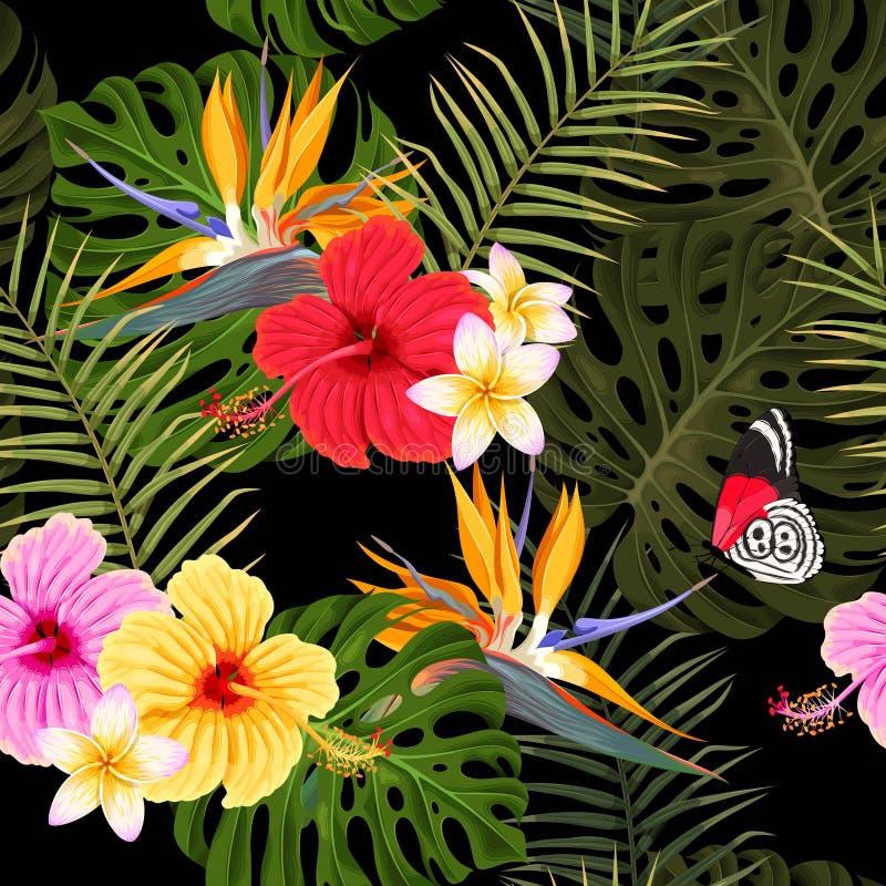 Безшовная картина с листьями гибискуса и ладони иллюстрация вектора