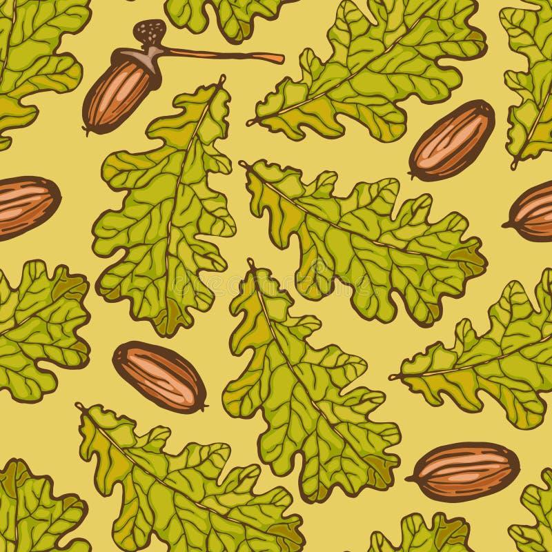 Безшовная картина с листьями дуба и жолудей Естественные объекты осени бесплатная иллюстрация