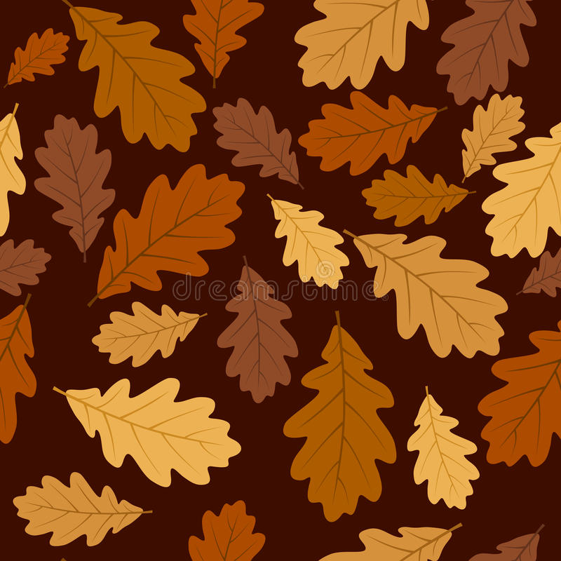 Безшовная картина с листьями дуба осени. EP вектора иллюстрация штока