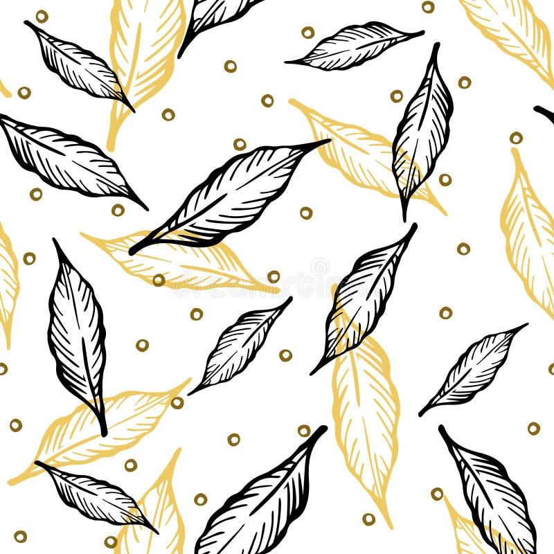 Безшовная картина с листьями и абстрактными диаграммами иллюстрация вектора