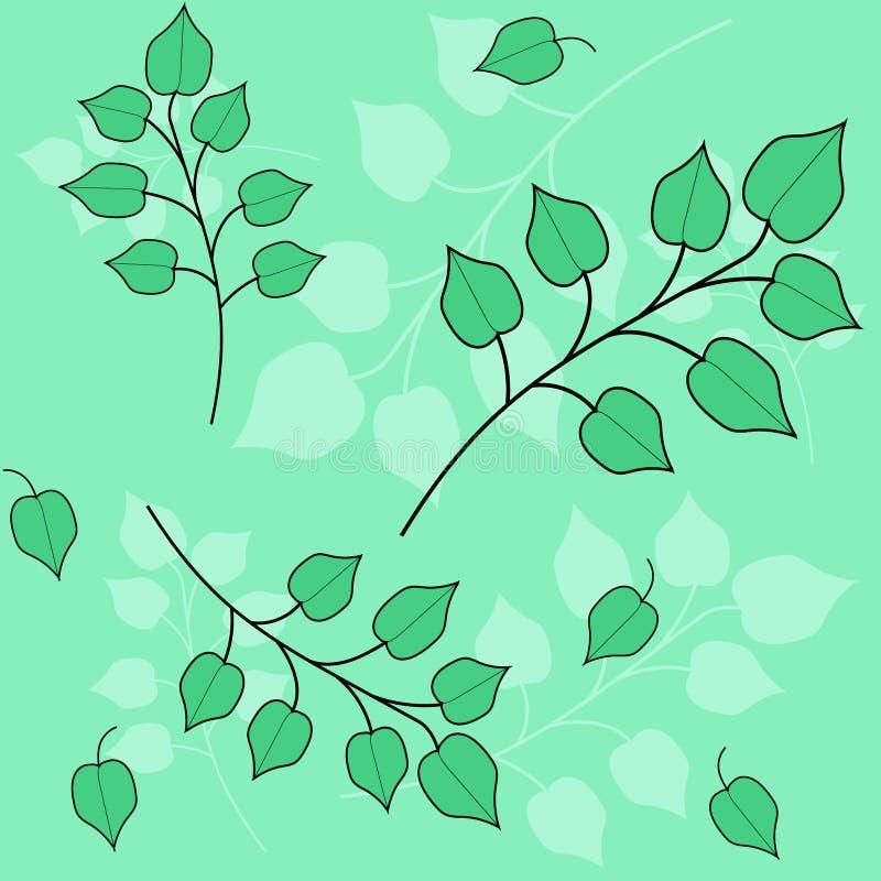 Безшовная картина с листьями и ветвями иллюстрация вектора