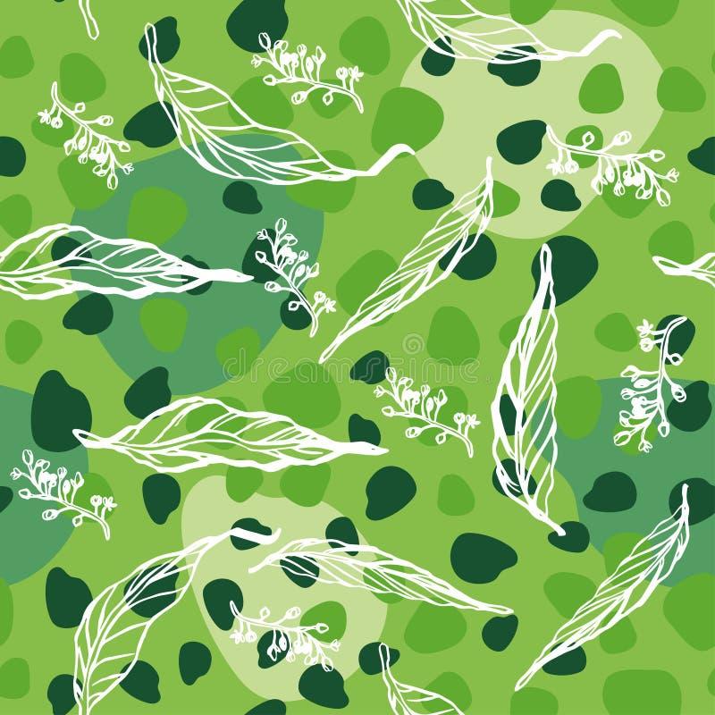 Безшовная картина с листьями и ветвями Флористический орнамент стоковое фото