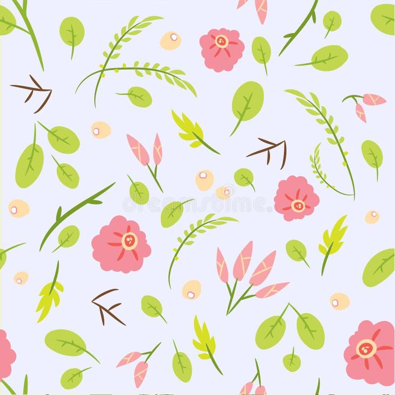 Безшовная картина с листьями и розовыми розами вектор иллюстрация вектора
