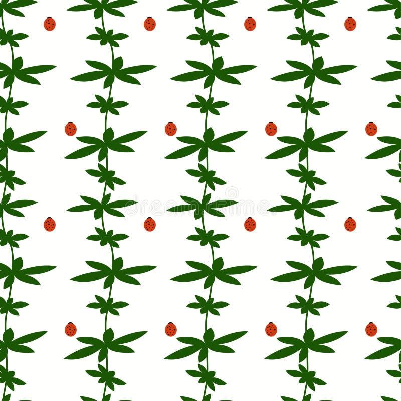 Безшовная картина с листьями и ladybirds зеленого цвета бесплатная иллюстрация