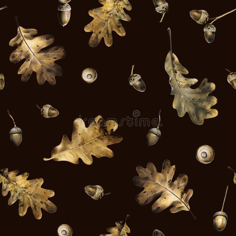 Безшовная картина с листьями осени дуба и жолудей Иллюстрация нарисованная рукой с покрашенными карандашами иллюстрация штока