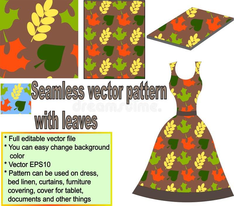 Безшовная картина с листьями осени иллюстрация вектора