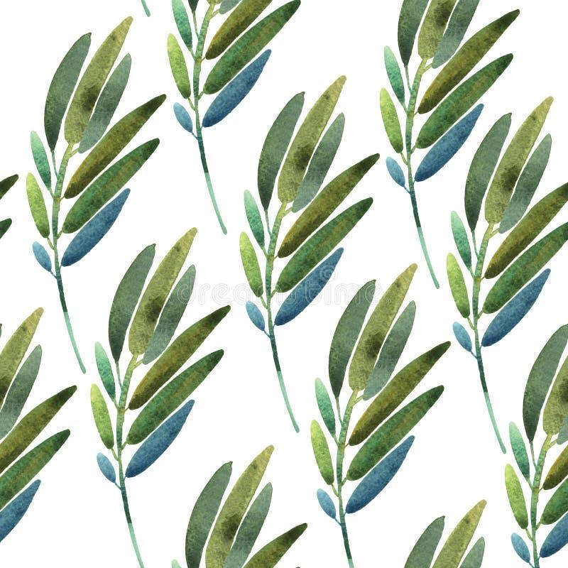 Безшовная картина с листьями иллюстрация вектора