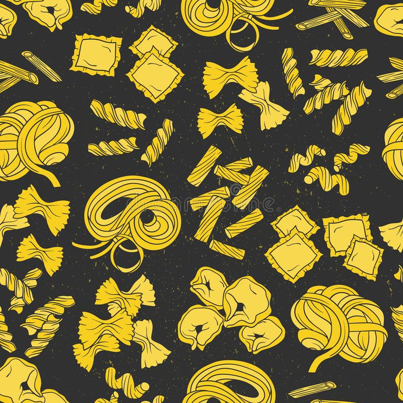 Безшовная картина с макаронными изделиями Красочная предпосылка с едой иллюстрация вектора