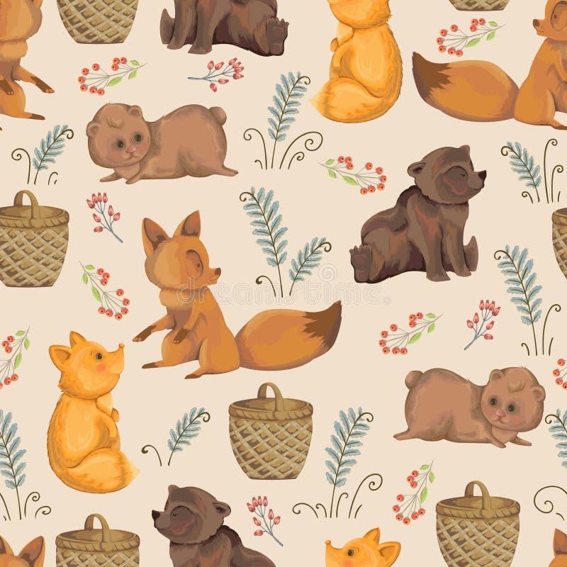 Безшовная картина с маленькими лисами, плюшевым мишкой, корзиной, ягодами и листьями папоротника Дизайн в стиле акварели для парт иллюстрация штока