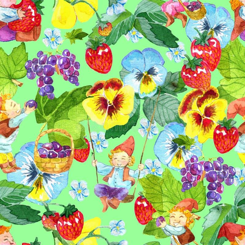 Безшовная картина с маленькими смешными гномами, зрелыми ягодами и красивым садом цветет на зеленом цвете иллюстрация вектора