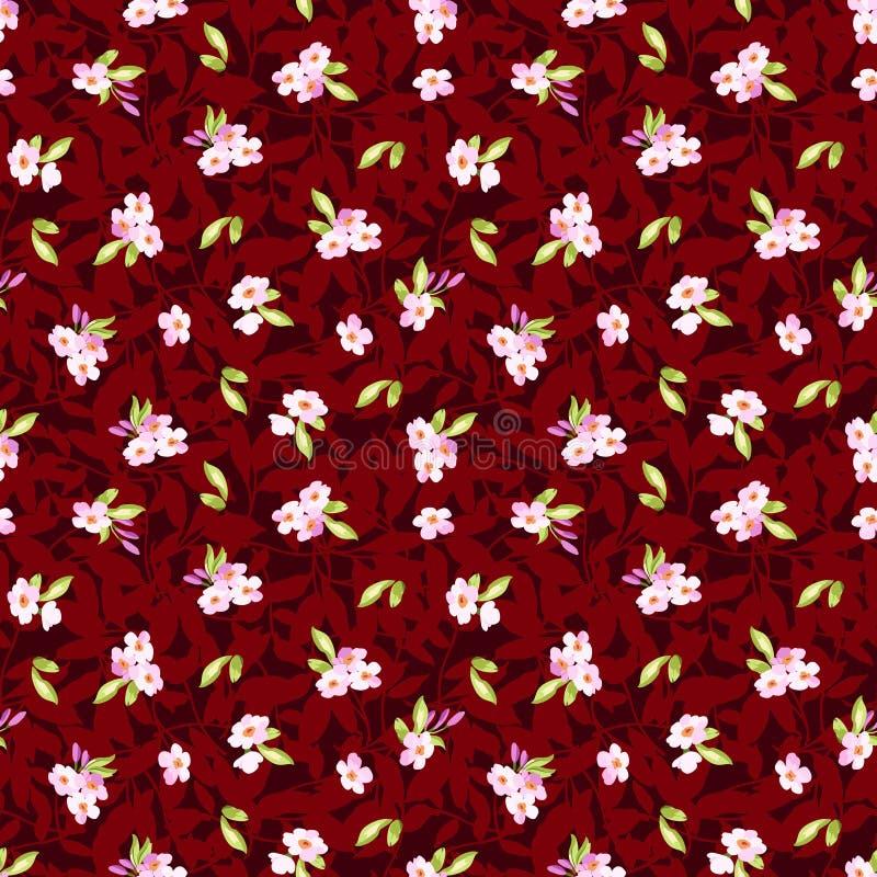Безшовная картина с маленькими розовыми цветками бесплатная иллюстрация