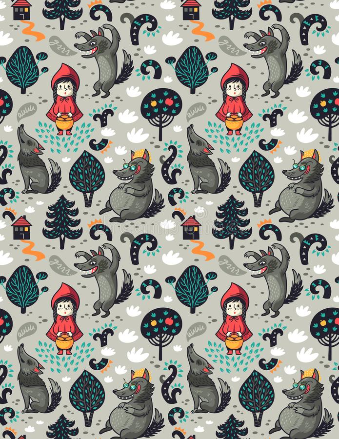 Безшовная картина с меньшими красным клобуком катания и серым голодным волком в предпосылке воображения сказки леса иллюстрация штока
