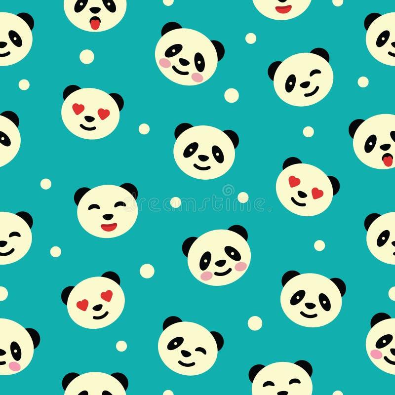 Безшовная картина с медведем панды иллюстрация вектора