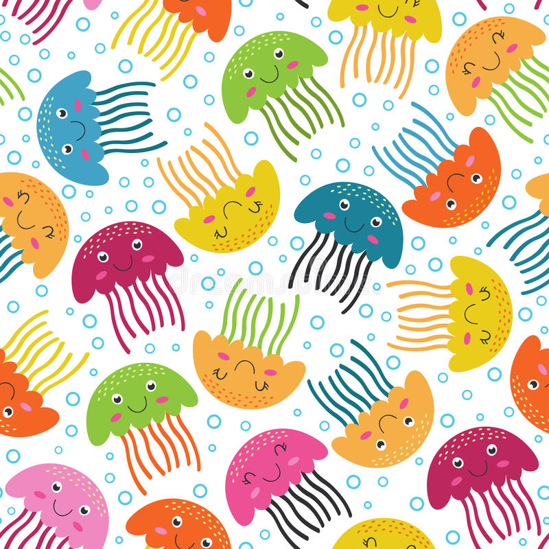 Безшовная картина с медузами иллюстрация вектора