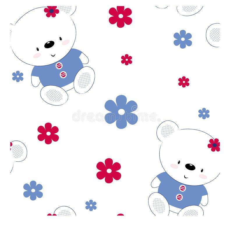 Безшовная картина с милой плюшевым мишкой Очаровывая печать для детей, плакат, одежда детей, открытка r иллюстрация штока