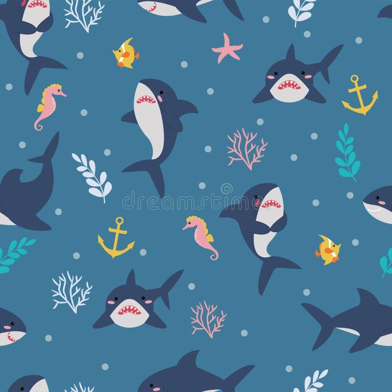 Безшовная картина с милыми акулами, морскими коньками, рыбами и заводами моря Иллюстрация вектора для ткани, ткани для детей иллюстрация штока