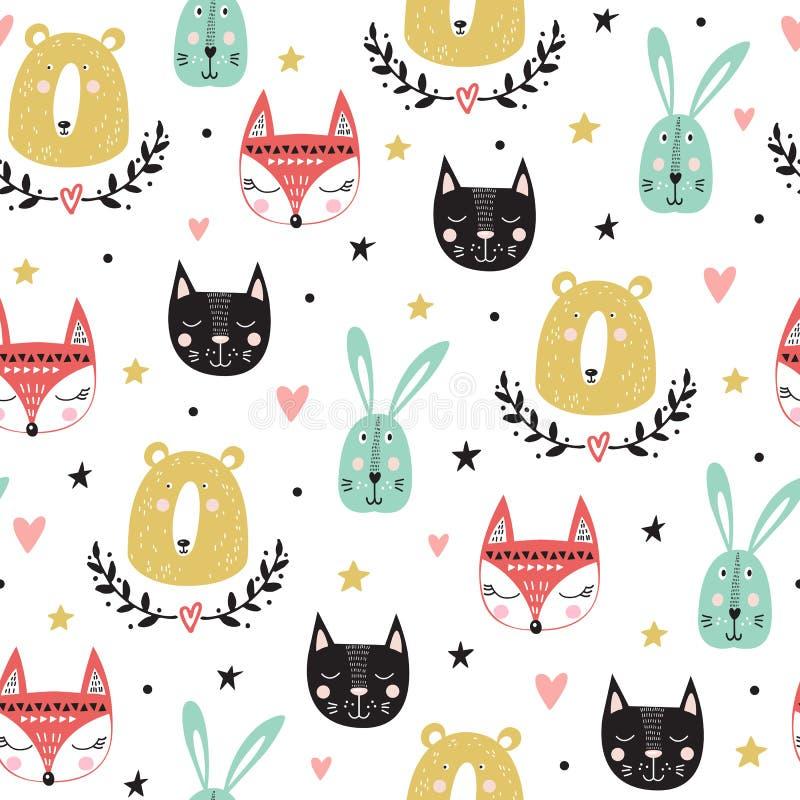 Безшовная картина с милыми животными: лиса, медведь, зайчик, кот также вектор иллюстрации притяжки corel иллюстрация штока