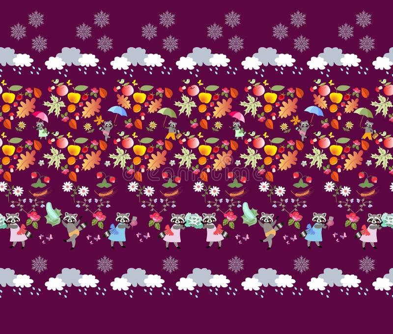Безшовная картина с милыми животными, листьями осени, грибами, ягодами, фруктами и овощами, облаками с падениями дождя и снежинко бесплатная иллюстрация