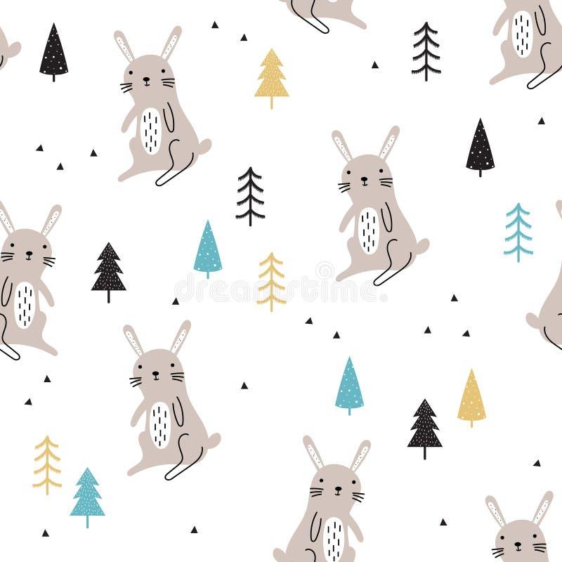 Безшовная картина с милыми зайцами леса иллюстрация вектора