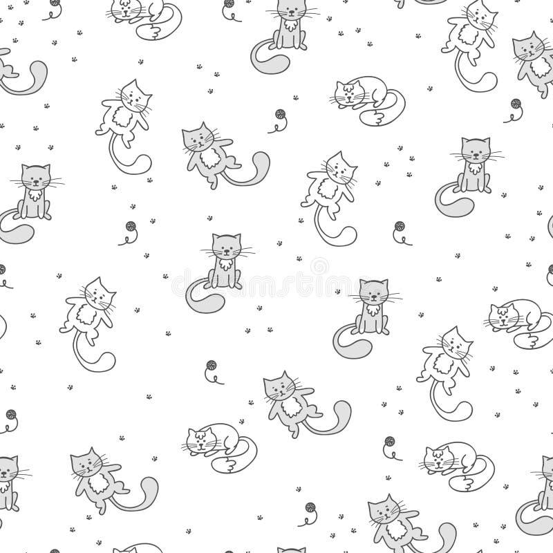 Безшовная картина с милыми котами в различных представлениях Предпосылка вектора для младенца с животным иллюстрация вектора