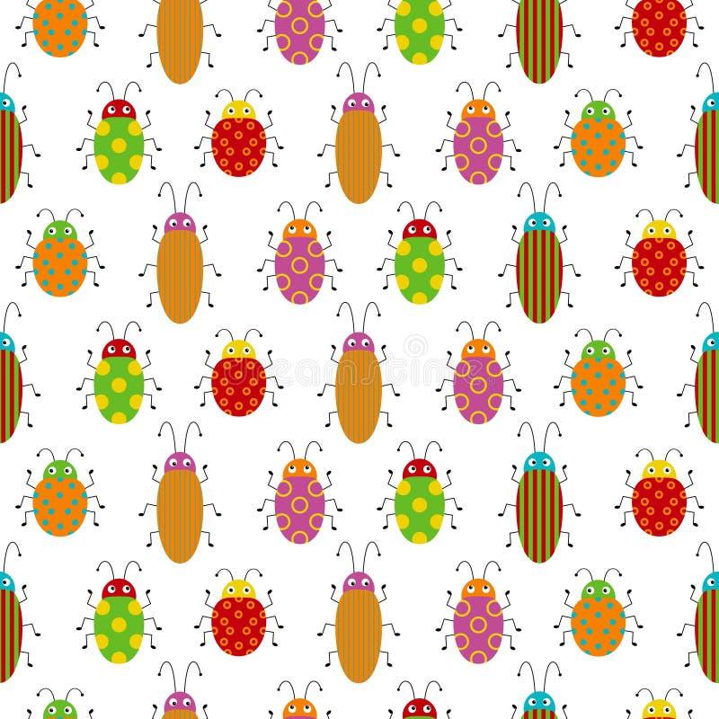 Безшовная картина с милыми красочными ошибками Яркий чертеж вектора небольших жуков Иллюстрация мультфильма смешная бесплатная иллюстрация