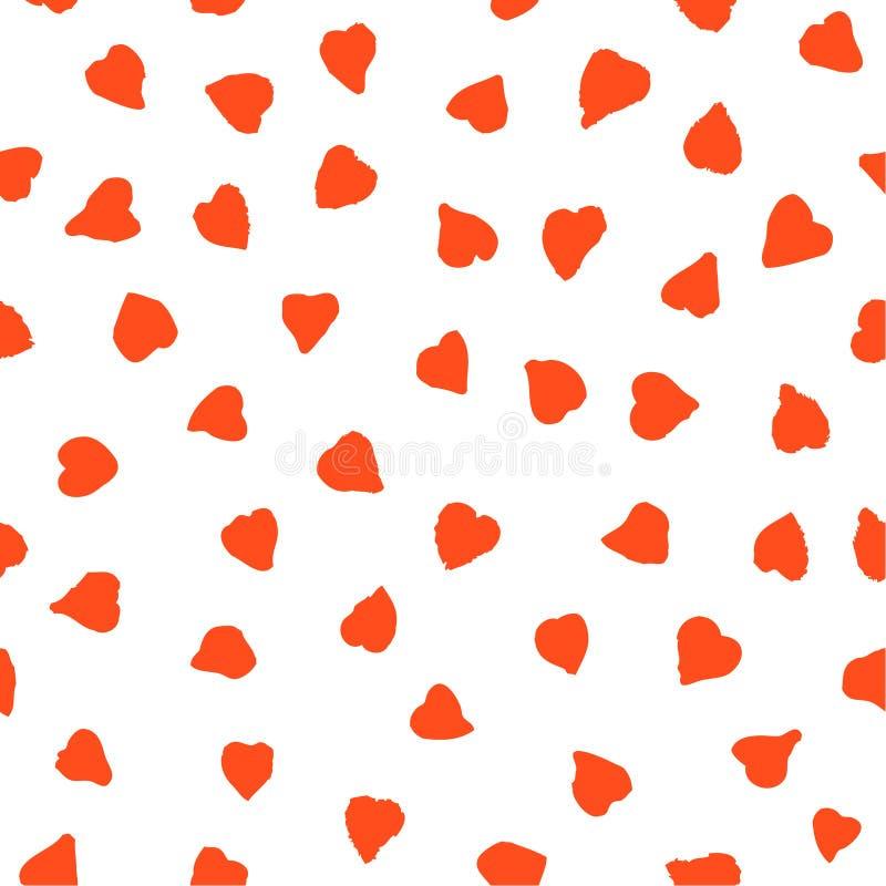 Безшовная картина с милыми маленькими красными сердцами бесплатная иллюстрация