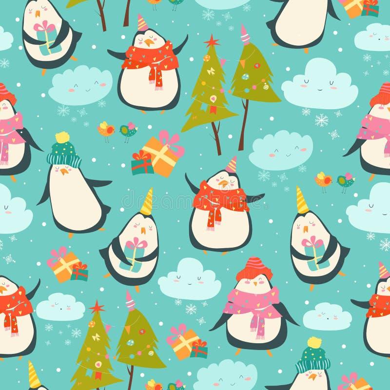 Безшовная картина с милыми пингвинами иллюстрация штока