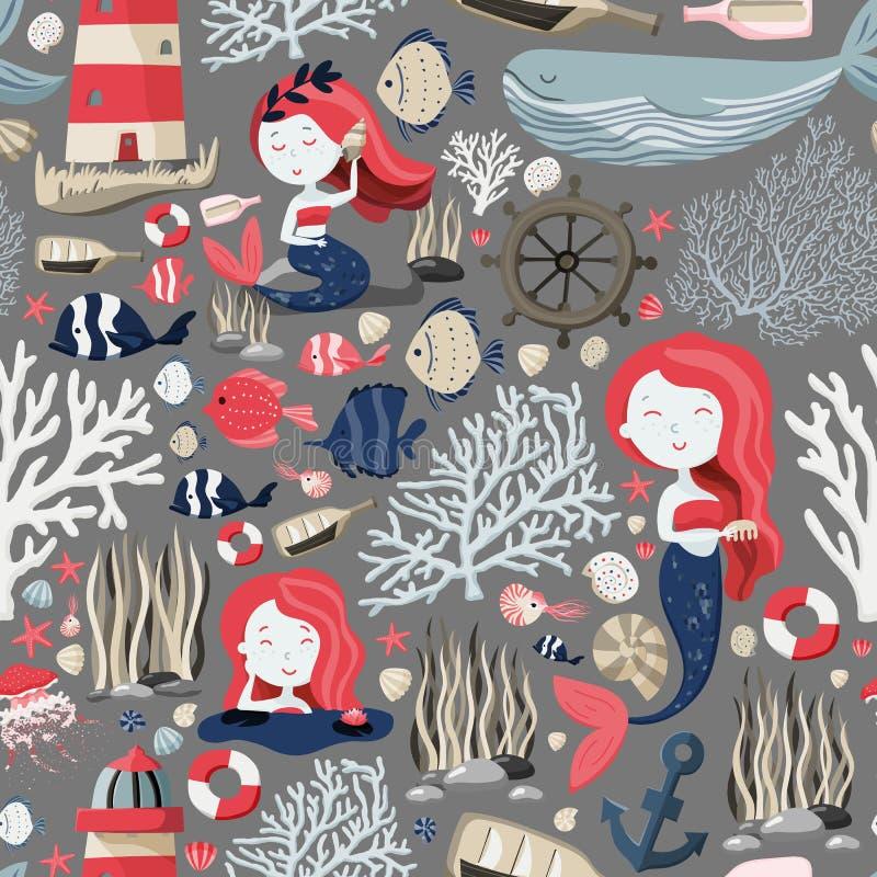 Безшовная картина с милыми русалками, маяком, рыбами, раковинами, анкером, морскими звёздами etc Жизнь моря или океана текстура иллюстрация штока