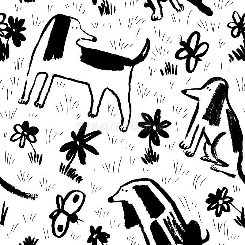 Безшовная картина с милыми собаками Предпосылка с любимчиками и маслом иллюстрация штока
