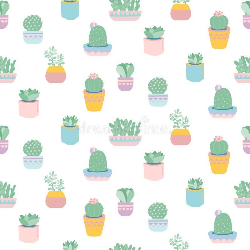 Безшовная картина с милыми succulents в баках иллюстрация штока