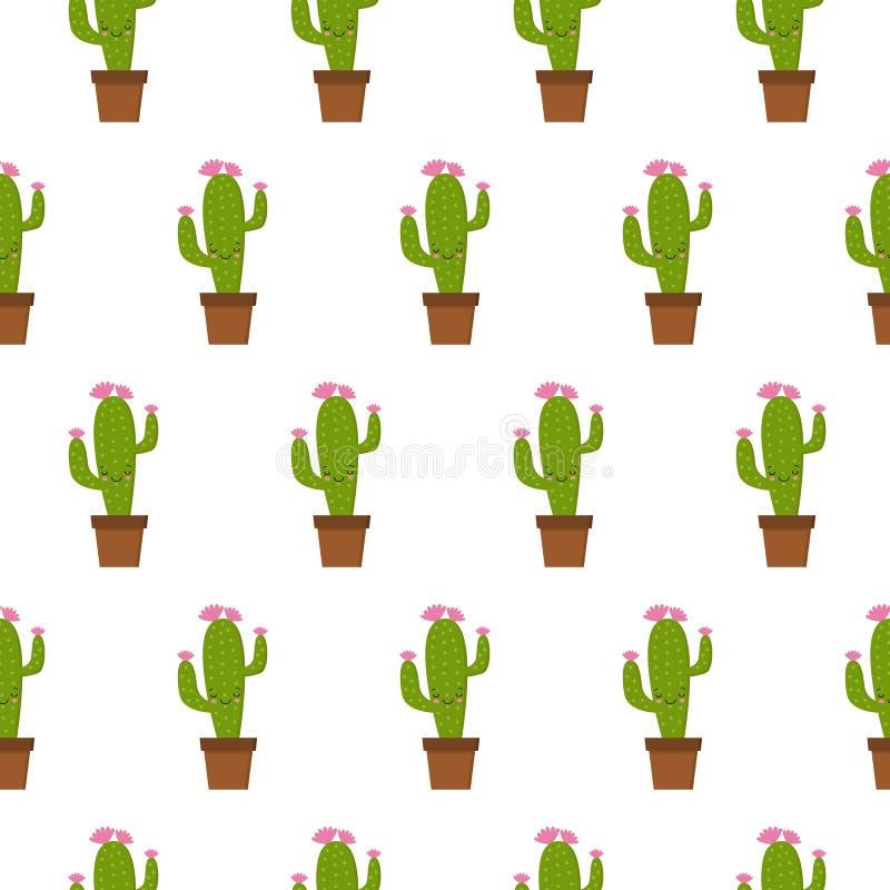 Безшовная картина с милым кактусом kawaii со смешными сторонами r r иллюстрация штока