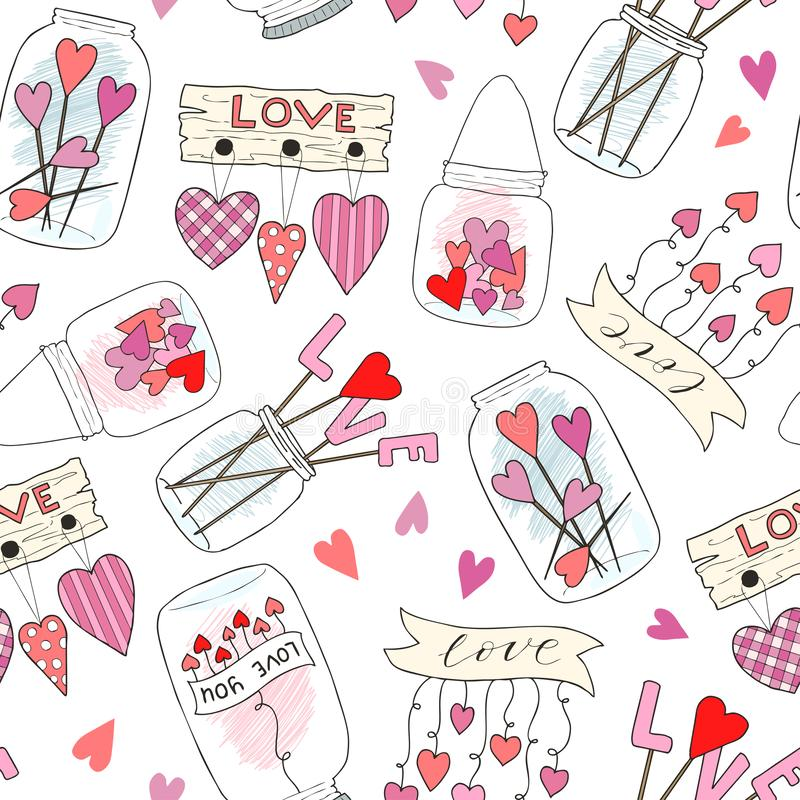 Безшовная картина с милым опарником варенья Улучшите для украшения дня Святого Валентина Wedding и романская концепция Рука векто иллюстрация вектора