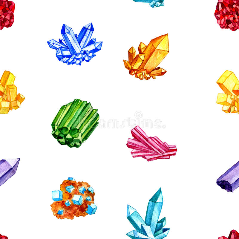 Безшовная картина с минералами акварели, самоцветами, кристаллами иллюстрация вектора