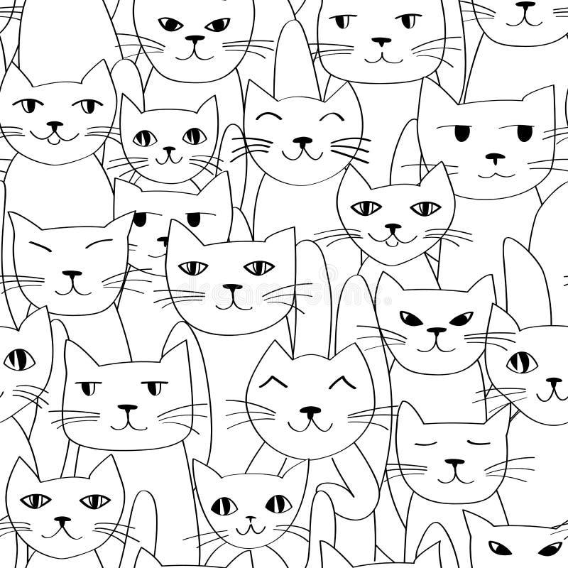Безшовная картина с милый котами бесплатная иллюстрация