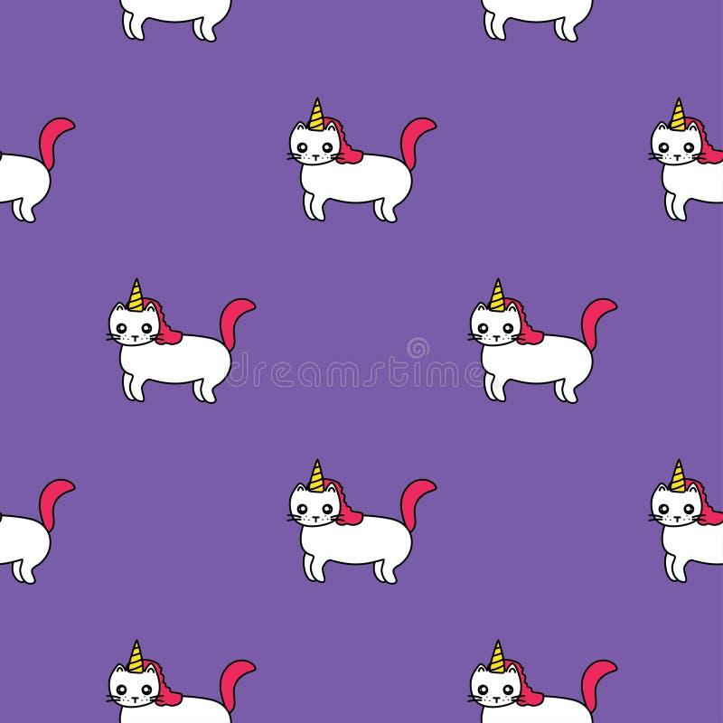Безшовная картина с милыми единорогами, смешными котами с рожками иллюстрация штока