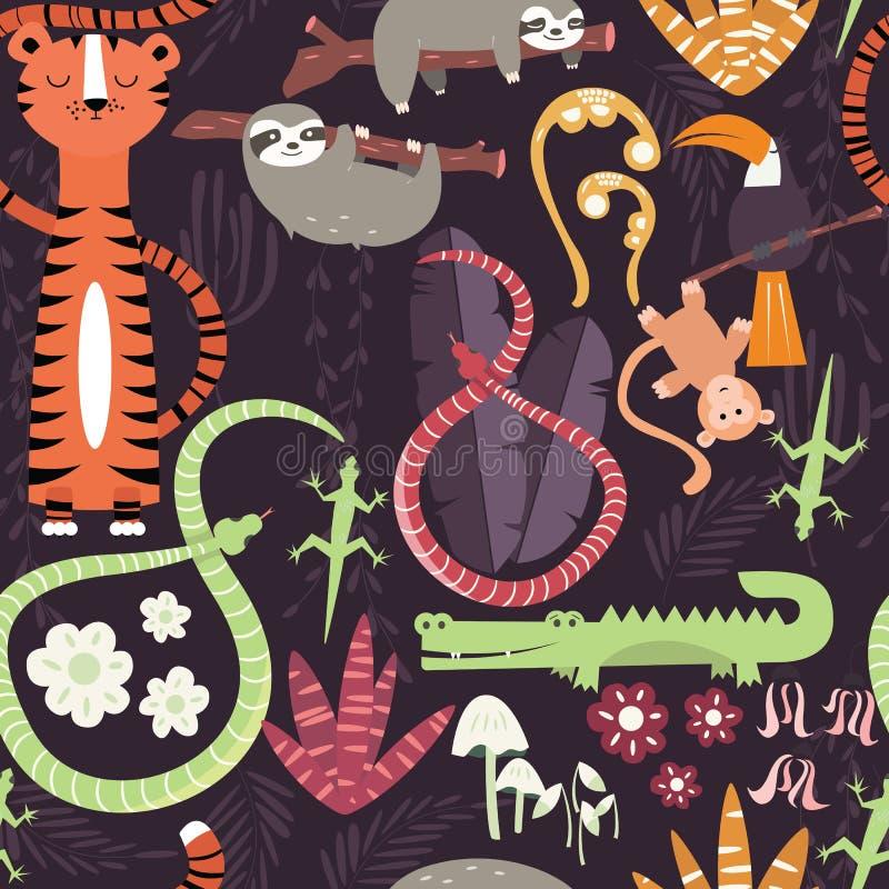 Безшовная картина с милыми животными дождевого леса, тигр, змейка, лень иллюстрация штока