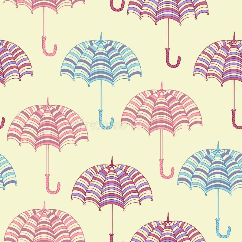 Безшовная картина с милыми зонтиками вектор бесплатная иллюстрация