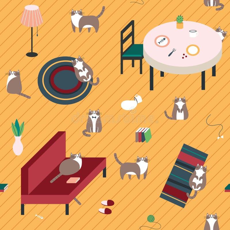 Безшовная картина с милыми котами на поле стоковые фотографии rf