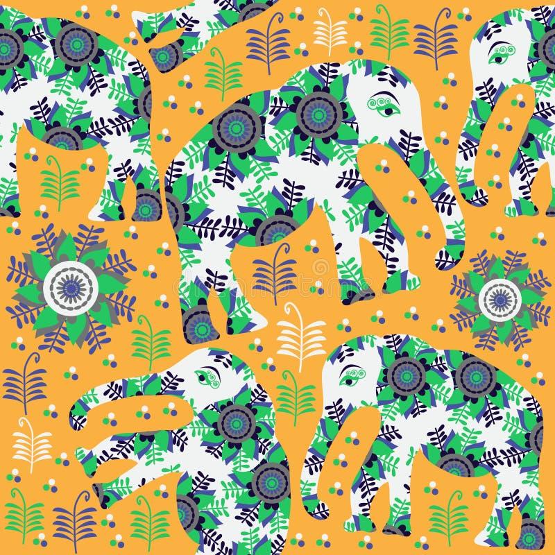 Безшовная картина с милыми красочными слонами иллюстрация вектора