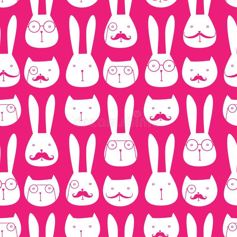 Безшовная картина с милыми кроликами и котами иллюстрация штока