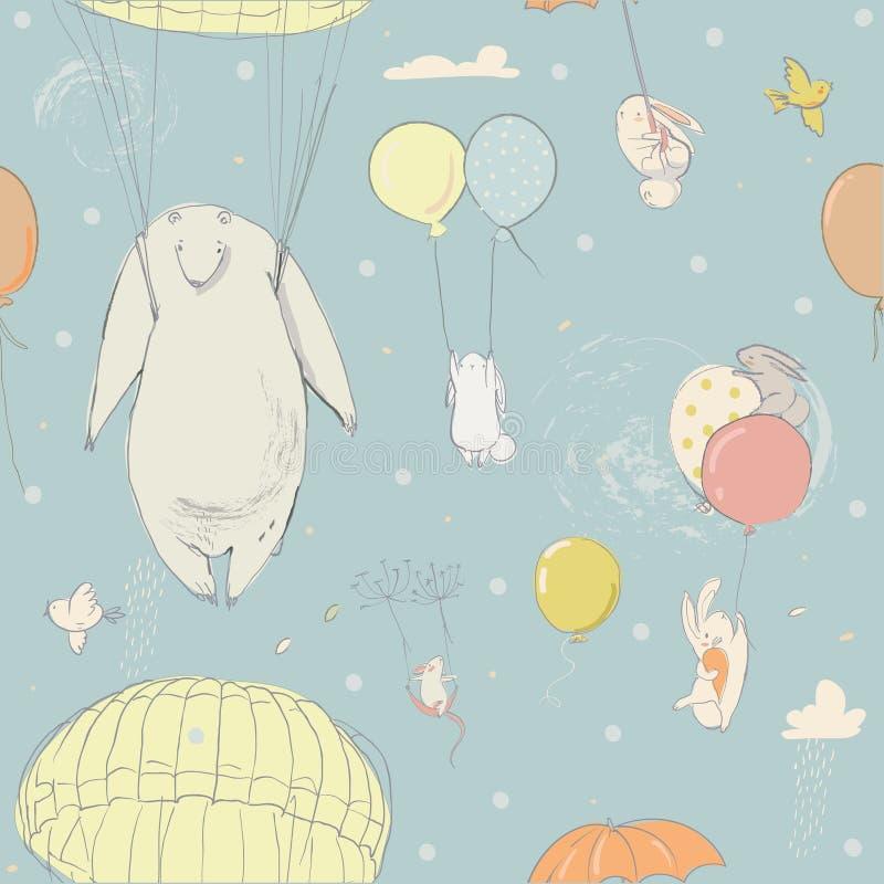 Безшовная картина с милыми маленькими зайцами и полярным медведем бесплатная иллюстрация