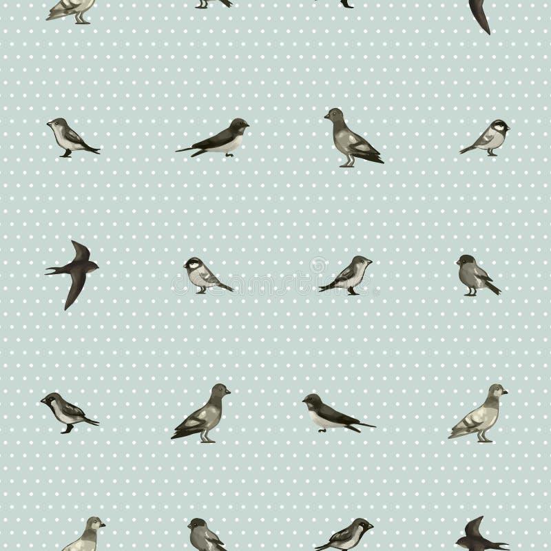 Безшовная картина с милыми маленькими птицами бесплатная иллюстрация