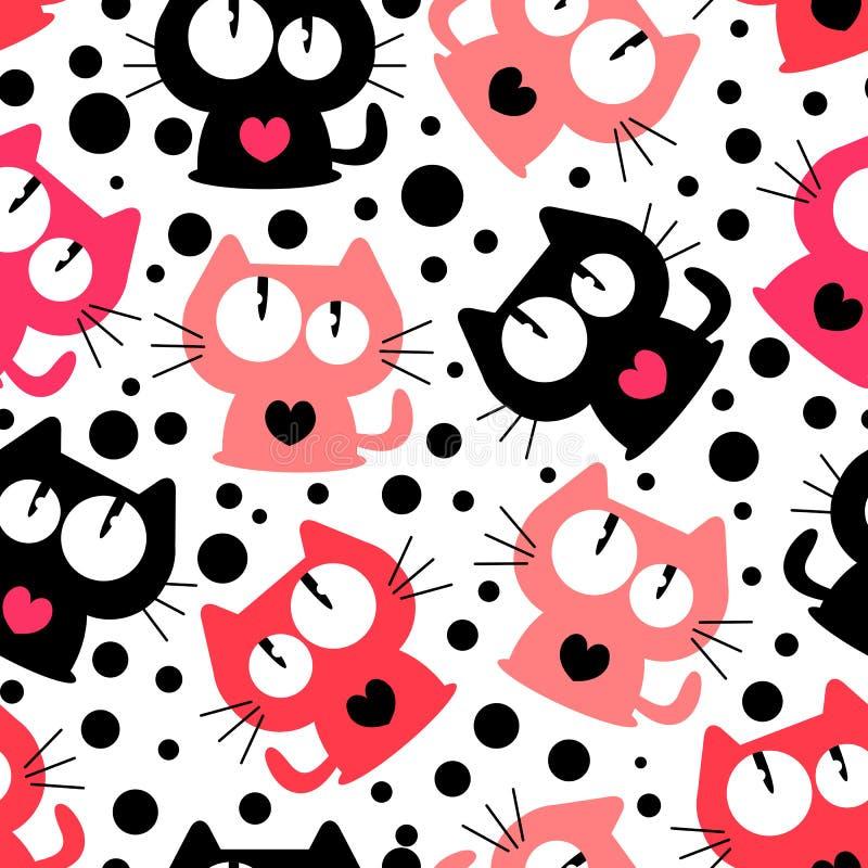 Безшовная картина с милыми смешными котами шаржа стоковое изображение