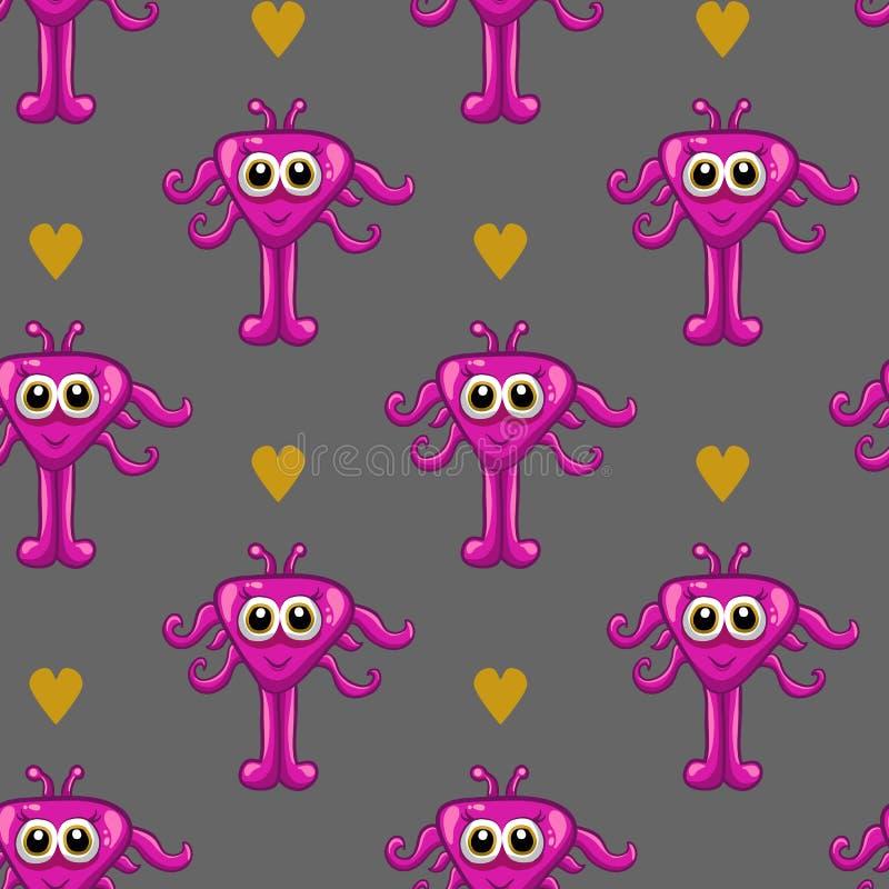 Безшовная картина с милым monster-3 иллюстрация вектора
