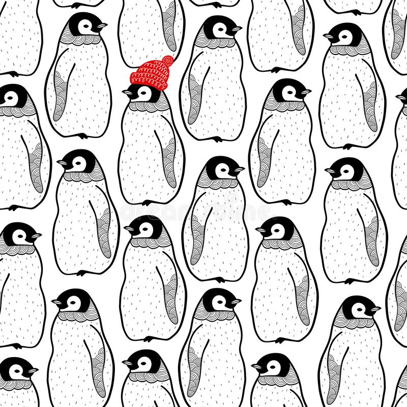 Безшовная картина с много пингвинов и одно в красной шляпе Бесконечная предпосылка для печати на ткани или обоях иллюстрация штока
