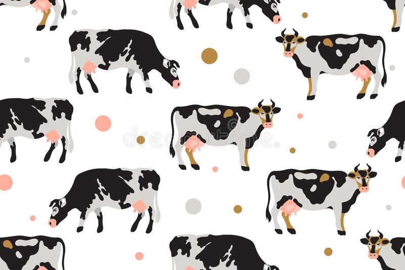 Безшовная картина с молоком запятнала коров в черной, белом, сером, золоте и пинке Земледелие, сельское хозяйство, жизнь деревни  иллюстрация вектора