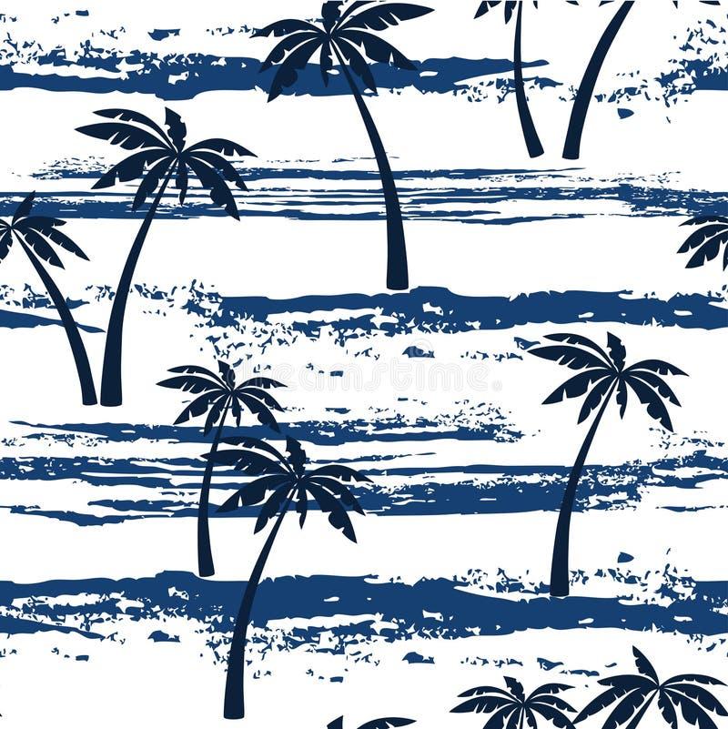Безшовная картина с морем и пальмами Предпосылка лета иллюстрация штока