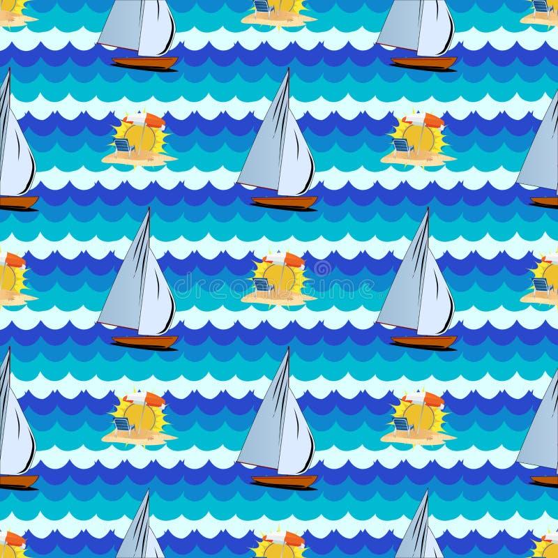 Безшовная картина с морем, солнцем, пальмой, яхтой иллюстрация вектора
